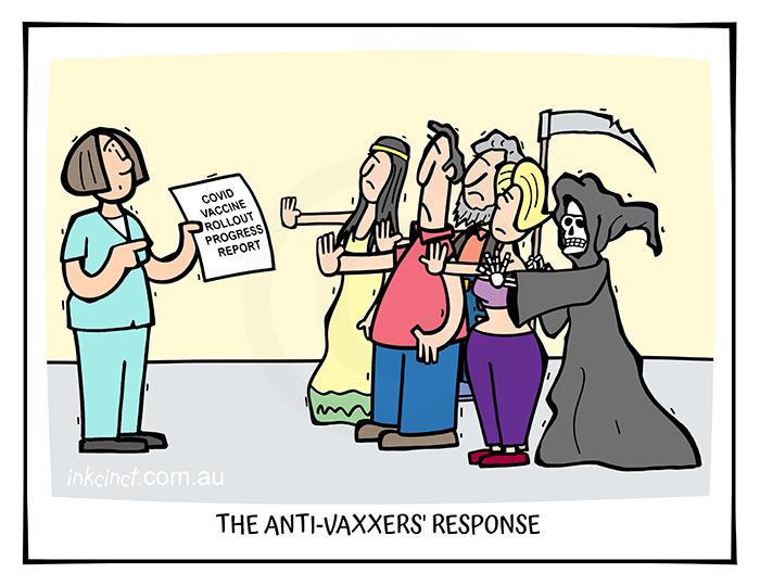 2021-162 Anti-vaxxers progress report, COVID-19 coronavirus grim reaper - AUSTRALIA GLOBAL 17th May copy