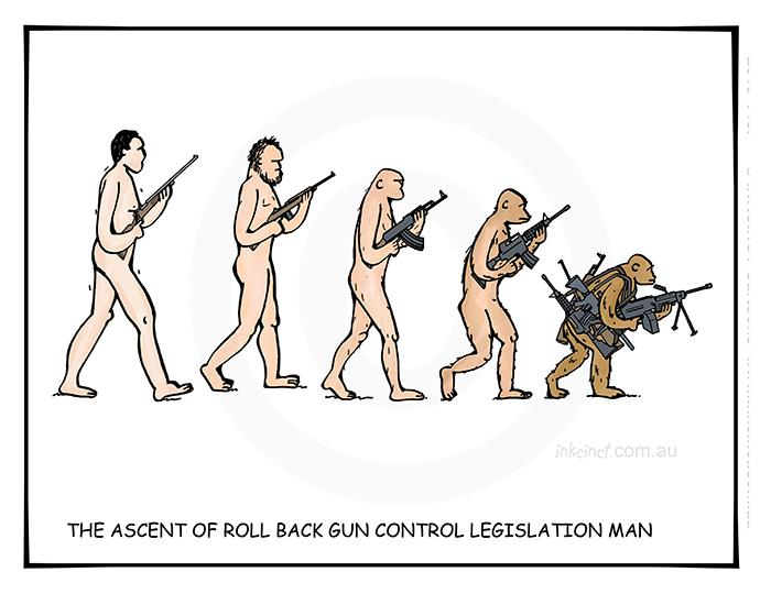 2019-145P The ascent of roll back gun control man, ape assault rifle - SOCIAL AUSTRALIA