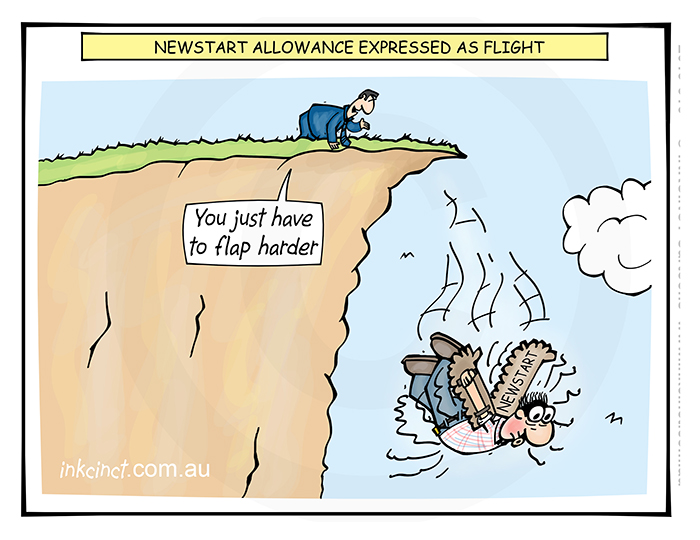 2019-316 Newstart allowance expressed as flight, cliff flapping - GOVERNMENT SOCIAL AUSTRALIA 30th July