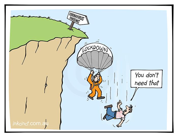 2020-247 You do not need that, coronavirus lockdown parachute cliff - AUSTRALIA BALLARAT 22nd July