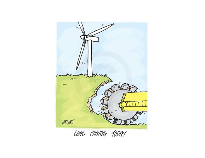 2017-078P Coal mining today, wind farm turbine - ENVIRONMENT AUSTRALIA 13th February